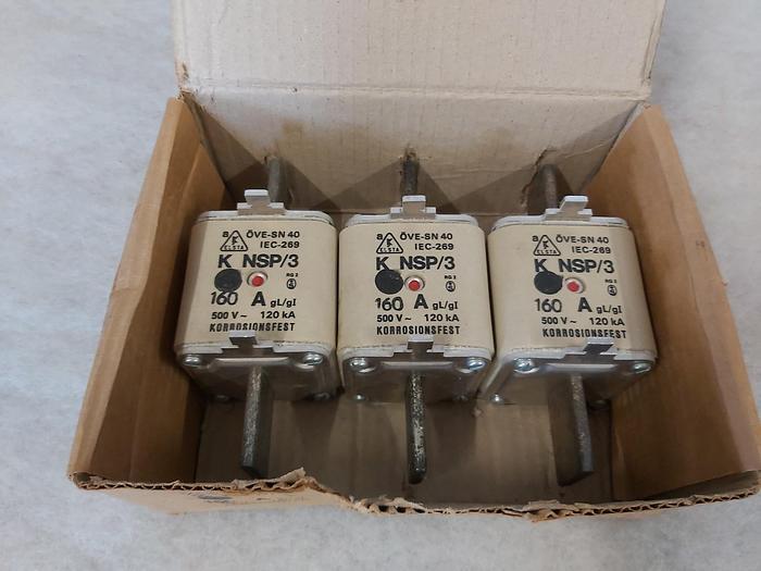 3 Stück NH Sicherungseinsätze Größe 3, 160A, K NSP/3, 500V, Elsta,  neuwertig