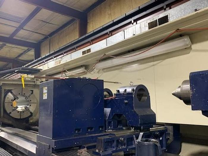 "Used 2012 Big Bore Karats CNC Lathe, 63"" x 246"", 22"" Spindle Bore, 73 hp, 410 rpm, Fanuc 18i TB"