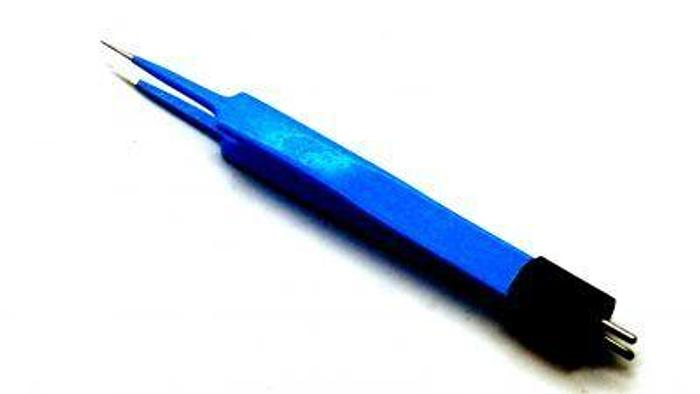 Used Forceps Diathermy Bipolar Cawthorne Straight Sharp Tip Blue Coated 120mm (4-3/4in)