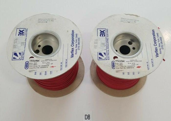 *NEW* LOT OF 2 Varflex Non-Fray Sleeving 500' Red Size 16 Perkin Elmer 9985516