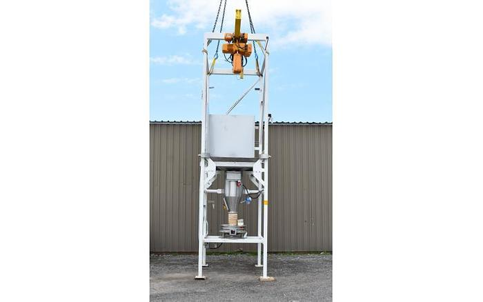 USED 20' TALL BULK SUPER SACK UNLOADER, WITH HOIST, KASON SIFTER & ROTARY VALVE