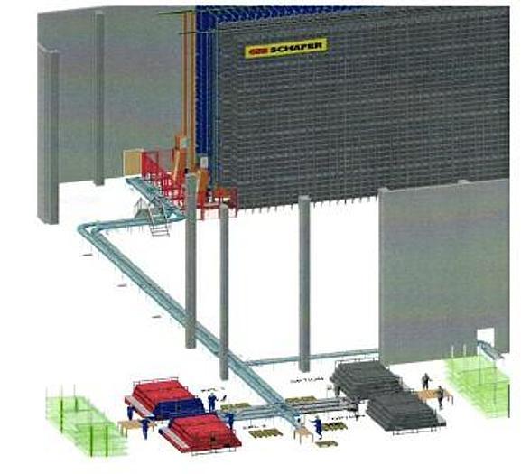 Gebraucht Automatisches Kleinteilelager (AKL) mit Fördertechnik für E3 - Kisten (600x400x320mm)