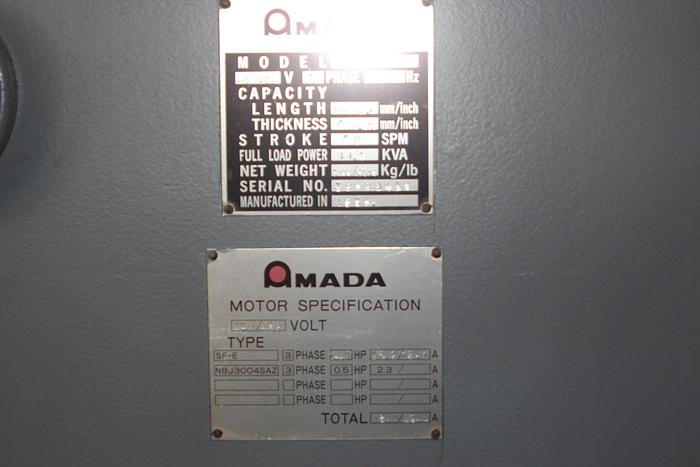 "1986 AMADA M-3060 Shear | 1/4"" x 10', 42"" FOPBG, 10 Sq. arm, Front Support"