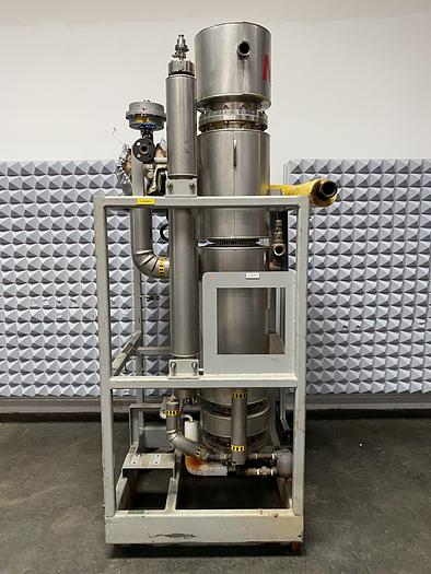 Used Meco  Vertical Shell & Straight Tube Heat Exchanger 125 PSIG w/ SS Frame & Gauges