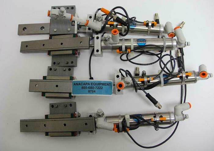 "Used Bimba M-063-D Pneumatic Cylinder 7/8"" x 3"" W/ Hiwin MGW12 Rails Lot of 4 (8754)W"