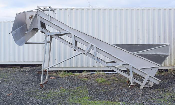 Used Aluminum incline cleated hopper conveyor
