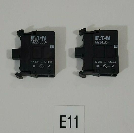 *NEW* LOT OF 2 Eaton M22-LED-G LED Green Lamp Light Units 12-30V + Warranty!