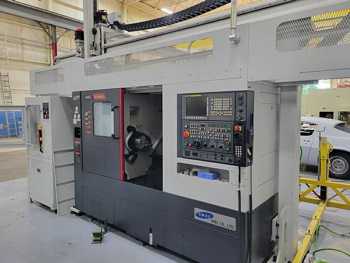 Used 2021 SAMSUNG SL 20000BM/GL CNC TURNING CENTER WITH LIVE MILLING AND GANTRY LOADED