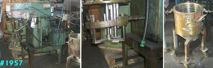 Used 6 GALLON MYERS TRI-SHAFT MIXER – S/S – VAC – JACKETED – V/S