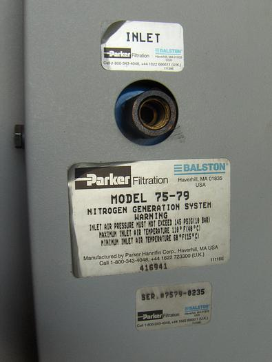 Parker Mdl. 75-79 Nitrogen Generator, Serial #7579-0235
