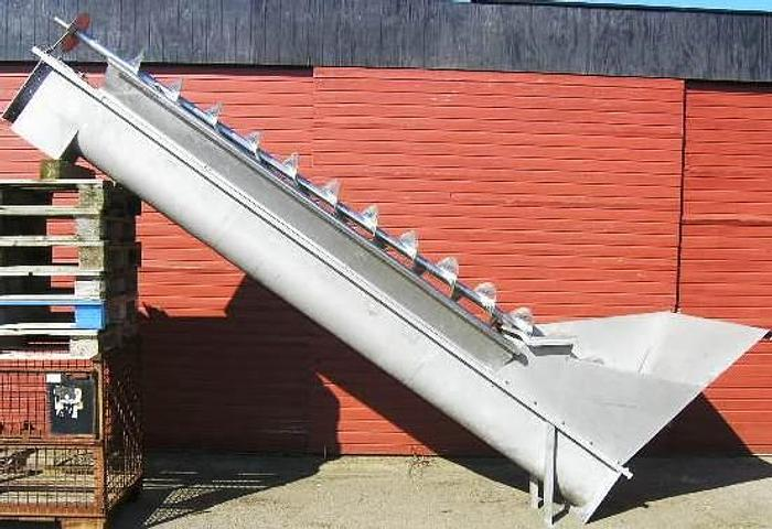 Used 4 meter screw conveyor with hopper for meat discards.