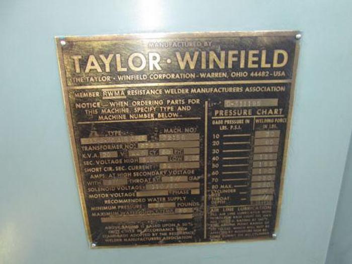 TAYLOR WINFIELD 20 KVA SPOT WELDER WITH INTERLOCK IND CONTROLS RESISTANCE WELD