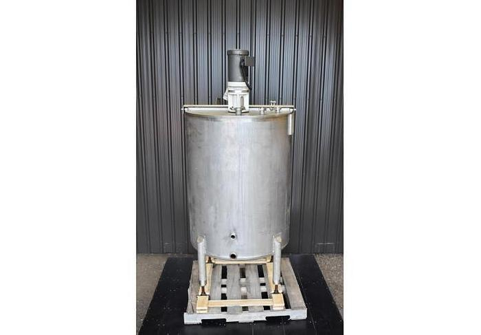 USED 200 GALLON TANK, STAINLESS STEEL WITH MIXER