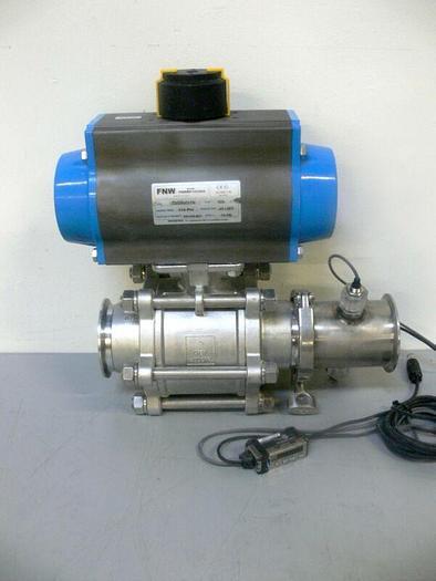 """Used FNW FNWRP100ADA 82DA6518 116PSI Actuator w/ 3"""" SS Ball Valve CF8M + Sensors"""