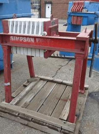 Used 1.5 CU. FT. SIMPSON FILTRATION FILTER PRESS 470 MM – C.G.R. – MANUAL CLOSURE