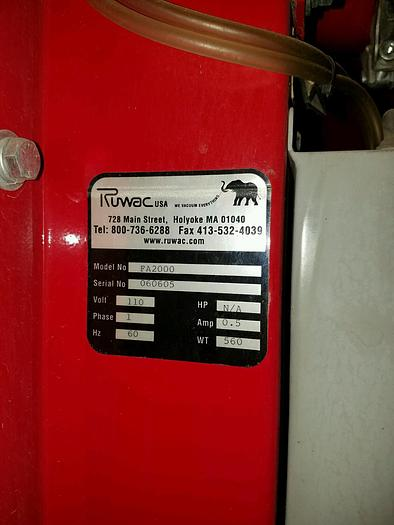 Used Ruwac Series FA 2000 Central Vacuum/Dust Collector System