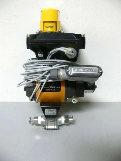 """Used Flowserve Series 39 120PSI Pneumatic Actuator, Position Monitor & 3/4"""" BallValve"""