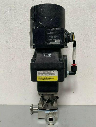 "Used ITT Sherotec 3-way Stainless Steel Valve w/ 1"" Sanitary Fit & Position Monitor"