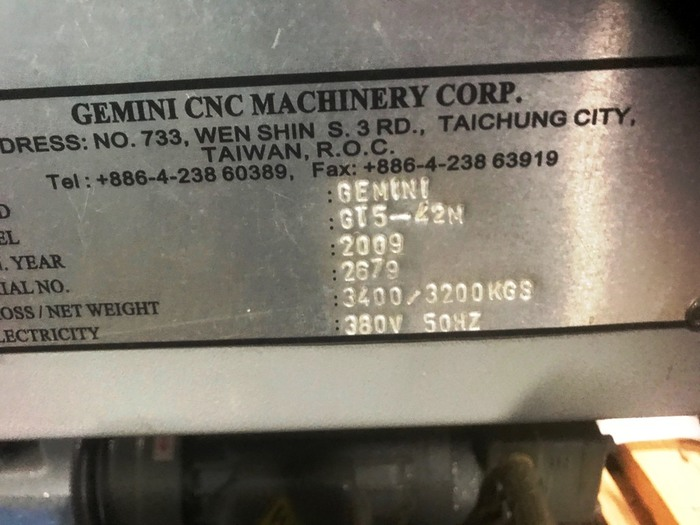 Gemini GT5-42M Brand New! CNC 5-Axis Single Spindle Turning Center