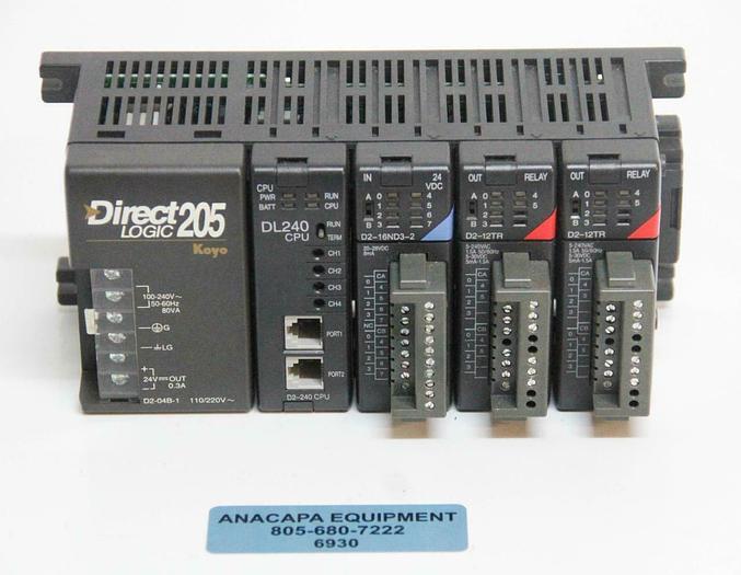 Used Koyo Direct Logic 205 PLC Controller w/ DL240 CPU D2-12TR D2-16ND3-2 (6930)