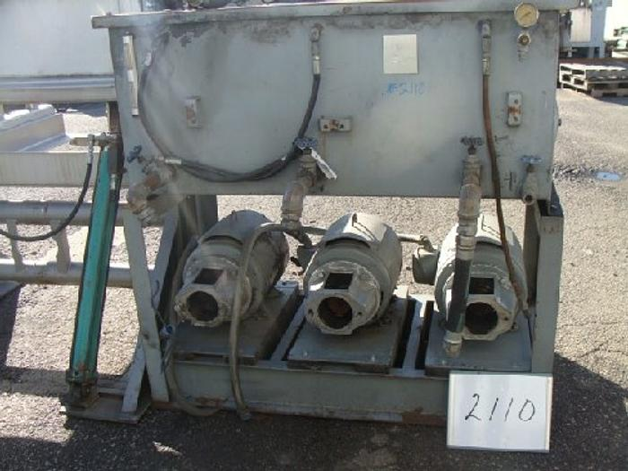 Used Hydraulic Power Pack With (3) 25 Hp motors and oil reservoir tank. No hydraulic pumps. Oil tank is 29'' w x 58'' long 25'' deep. Parts Machine #2110