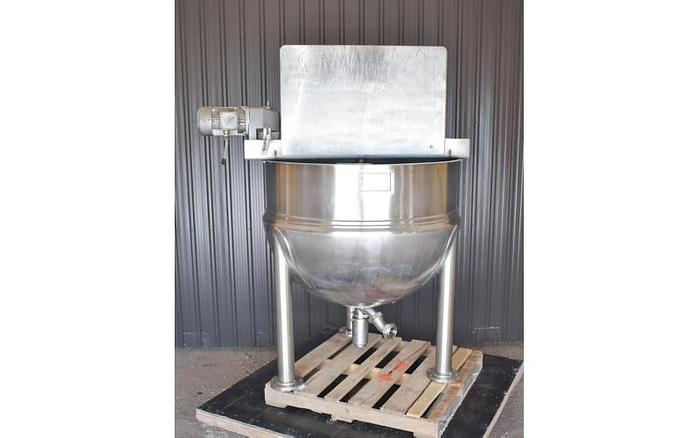 USED 250 GALLON KETTLE, LEE 250D9MS, STAINLESS STEEL, WITH DOUBLE MOTION SCRAPE AGITATION