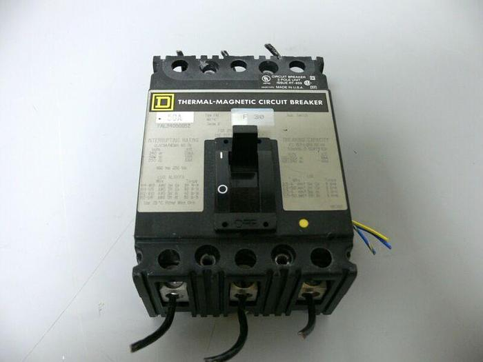 Used Square D Thermal-Magnetic Circuit Breaker FAL340501212 3 Pole 480VAC 250VDC