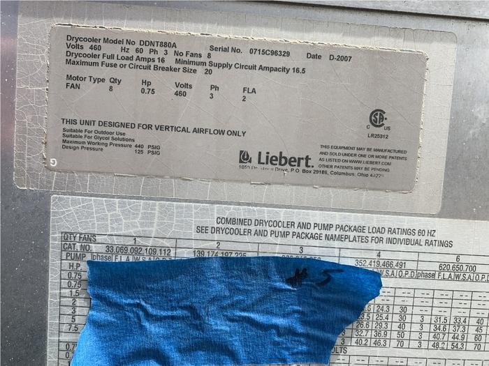 2007 LIEBERT DDNT-880A 8 FAN DRY COOLER (on hold)