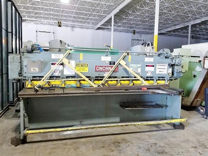 "Used Cincinnati 10' x 1/4"" Mechanical Shear Metal Shear"