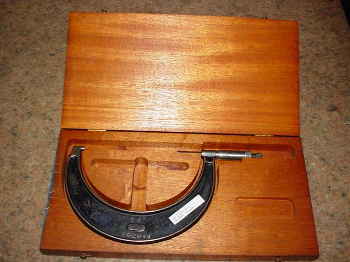 "OD MICROMETER, STARRETT, 5-6"", In Wooden Box"