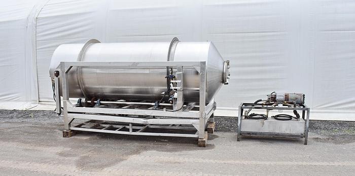 Used USED STAINLESS STEEL TILTING VACUUM DRUM TUMBLER, 54'' DIAMETER X 172'' LONG