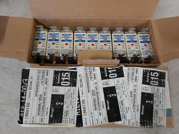 18 Stück NH Sicherungseinsätze Größe 000, 35A, NH 000, 400V, Ferraz Shawmut,  neuwertig