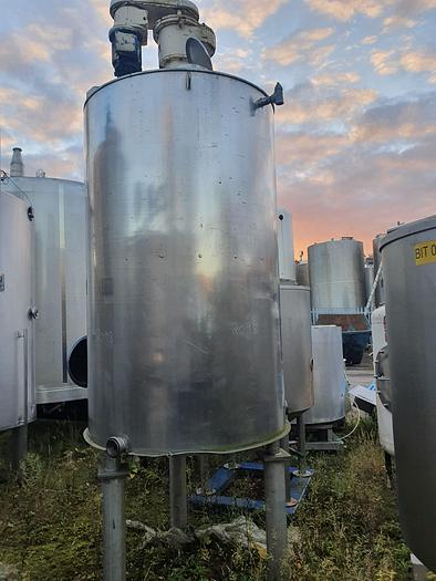 Used 2,000 Litre Stainless Steel Jacketed Mixing Tank
