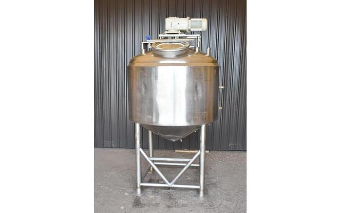 USED 500 GALLON JACKETED TANK, STAINLESS STEEL, INSULATED, WITH SCRAPE AGITATION