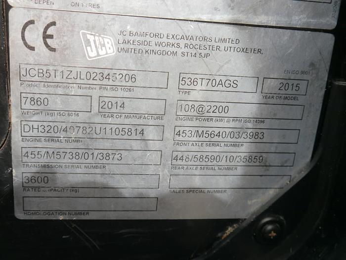 JCB 536-70 LP Agri Super Telehandler