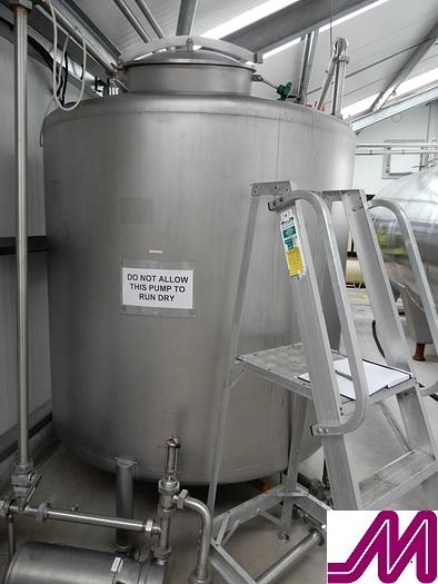 Used 3000 Litre Stainless Steel Single Skin Tank with Top Manway 2.1m x 1.6m Diameter