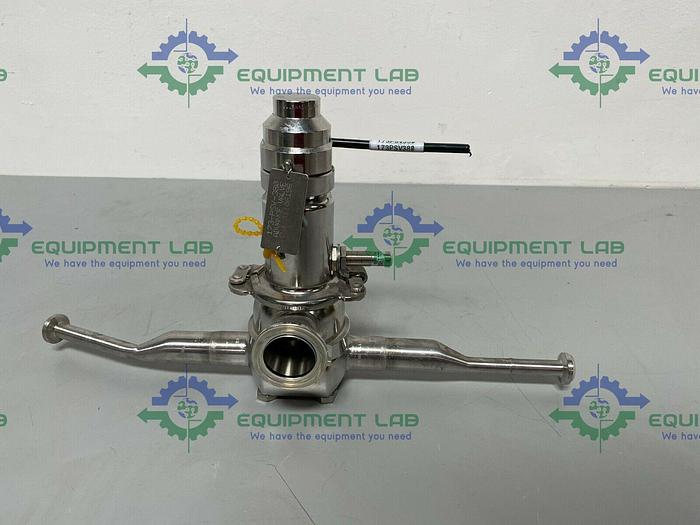 """Used Leser  4854.7748 Stainless Steel Valve w/ Piping & 1 1/2"""" & 3/4"""" Sanitary Fitting"""