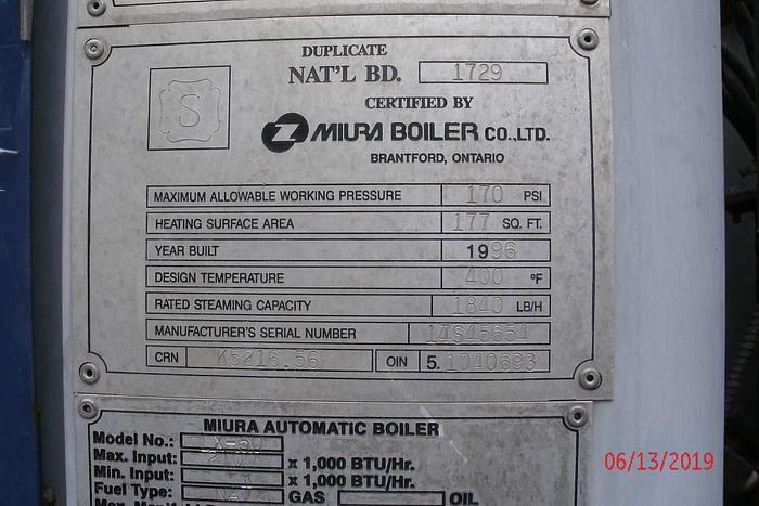 Miura LX-50  Steam Boiler