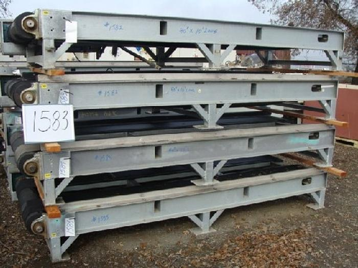 "Rubber Belt Pallet Conveyor 40 wide x 10' long 16"" high conveyor with dual 12"" wide rubber belts galvanized support frame 5 Hp gearmotor drive"" #1583"
