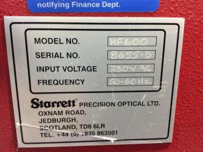 Used Starrett HF600 Horizontal Floor Standing Profile Projector