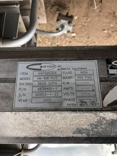 Used 2001 3600 SCFH Ambient Vaporizer