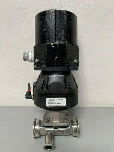 "Used ITT Pure-Flo A209 Stainless Steel 3-Way Diaphragm Valve w/ 1"" & 2"" Sanitary Fits"