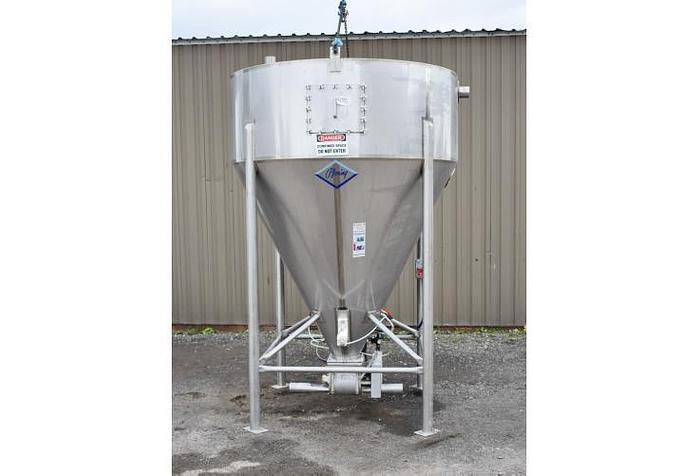USED 1400 GALLON TANK (SILO), STAINLESS STEEL, SANITARY, WITH ROTARY VALVE