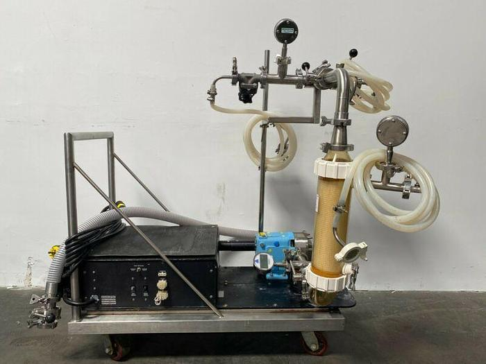Used Tangential Flow Filtration Skid w/ Waukesha 018-UL Pump & GE MaxCell Cartridge
