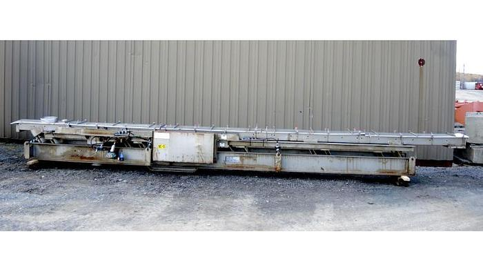 "USED VIBRATORY FEEDER, 11"" WIDE X 25'6"" LONG, STAINLESS STEEL 304"