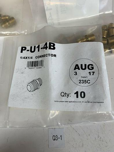 """NEW* Swagelok Brass Connector Fittings, 1/4"""" X 1/4"""" Connector"""