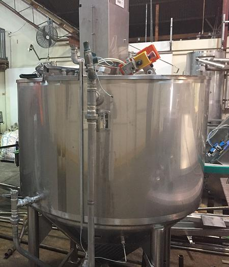 JACKETED MIXING TANK 1,200L  - coned bottom