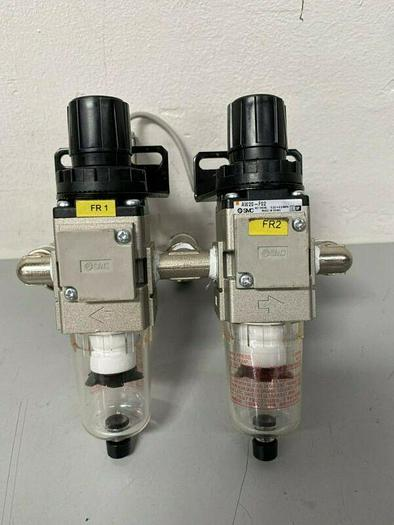 Used Lot of 2 SMC AW20-F02 Filter Regulator w/ SMC IS10-01-6 Pressure Switch