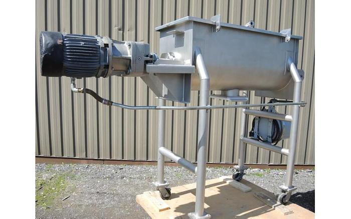 USED RIBBON BLENDER, 5 CUBIC FEET, DOUBLE RIBBON, STAINLESS STEEL