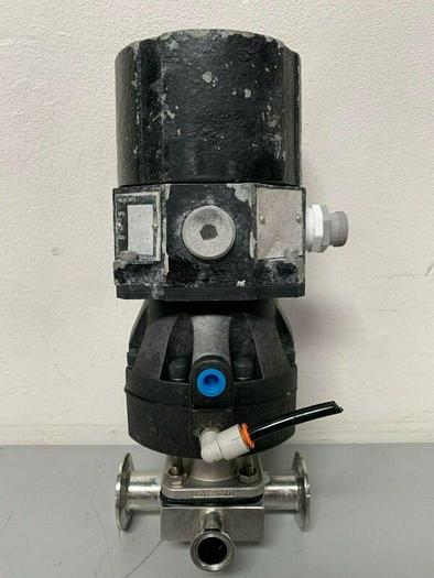 "Used ITT Sherotec 3-way Stainless Steel Valve w/ Position Monitors & 1"" / 2"" Fittings"